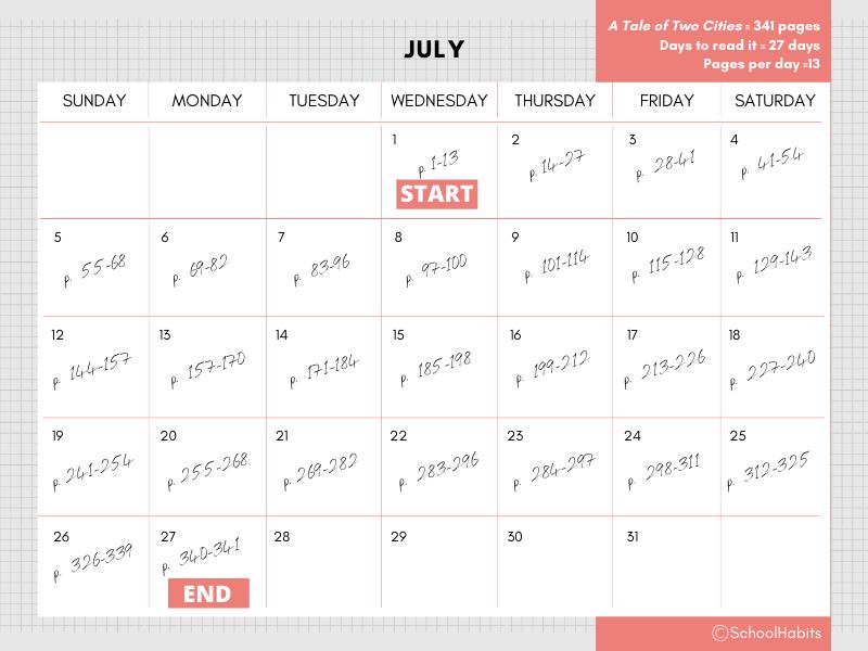 Summer reading tips schedule