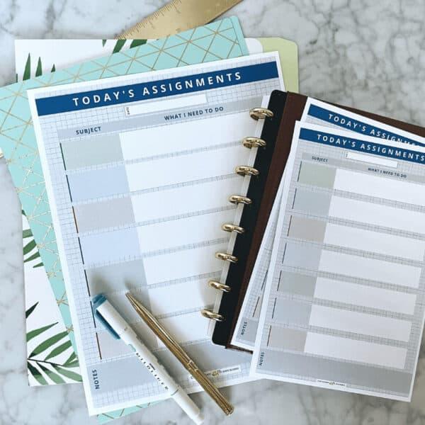 Daily homework planner printable 1