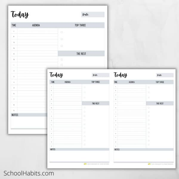 Minimal daily schedule and task list printable 2