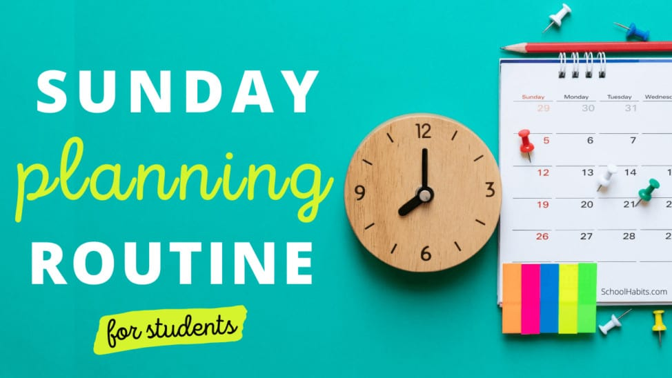 Sunday planning routine for students