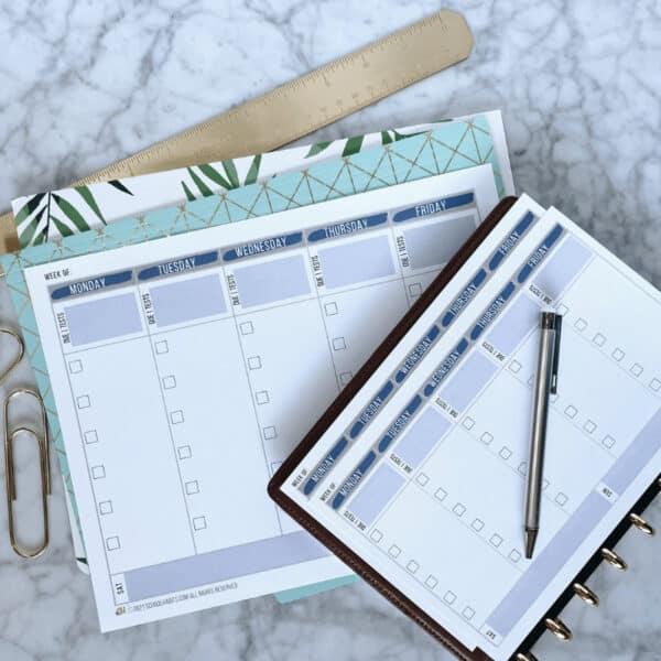 Weekly homework planner printable