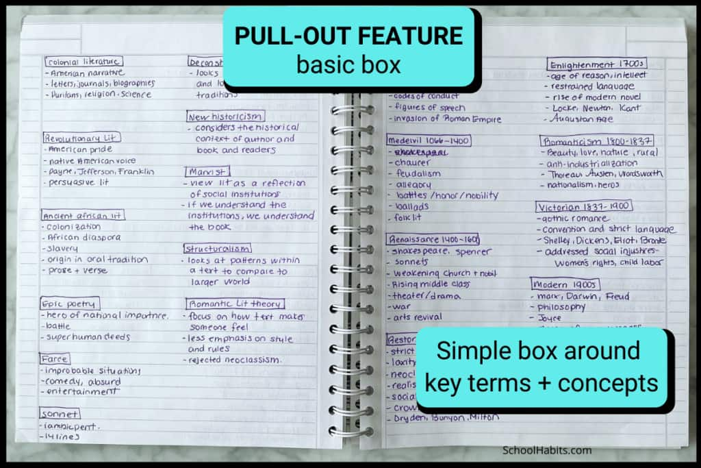 Keep your notes organized with simple  pull out features