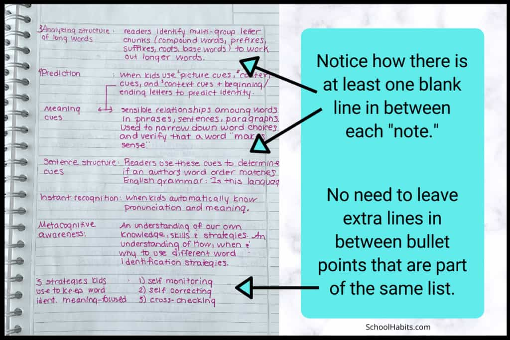 Keep your notes organized with line spaces