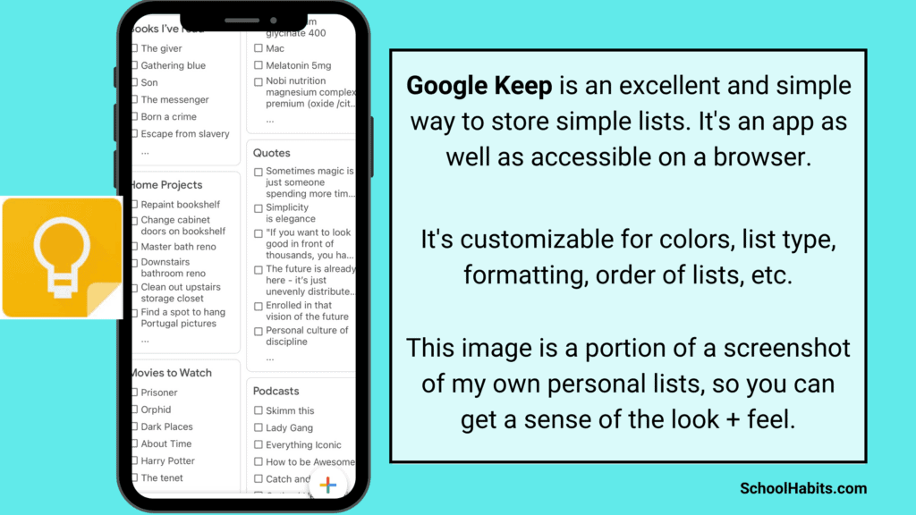 lists every student should have google keep